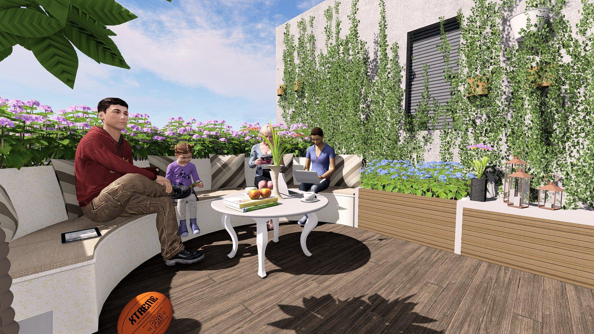 園林軟裝--浙江嘉興上置香島花園疊墅上疊的空中花園設計效果圖